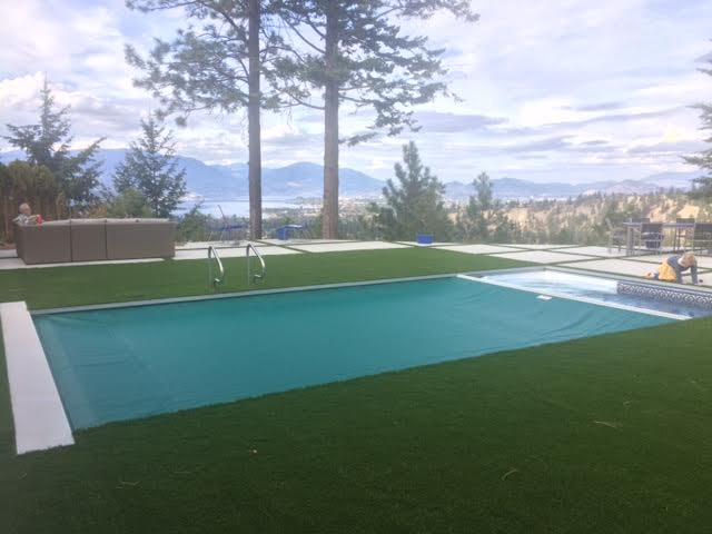 New Pool Cover Installation-Kelowna Pool Cover with Synthetic Lawn