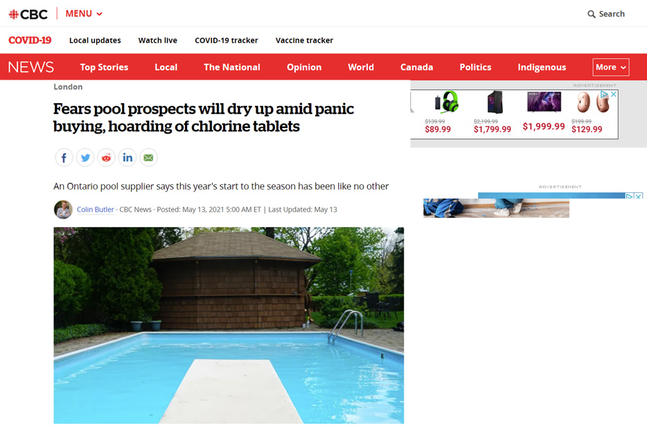 pool supply shortage during covid
